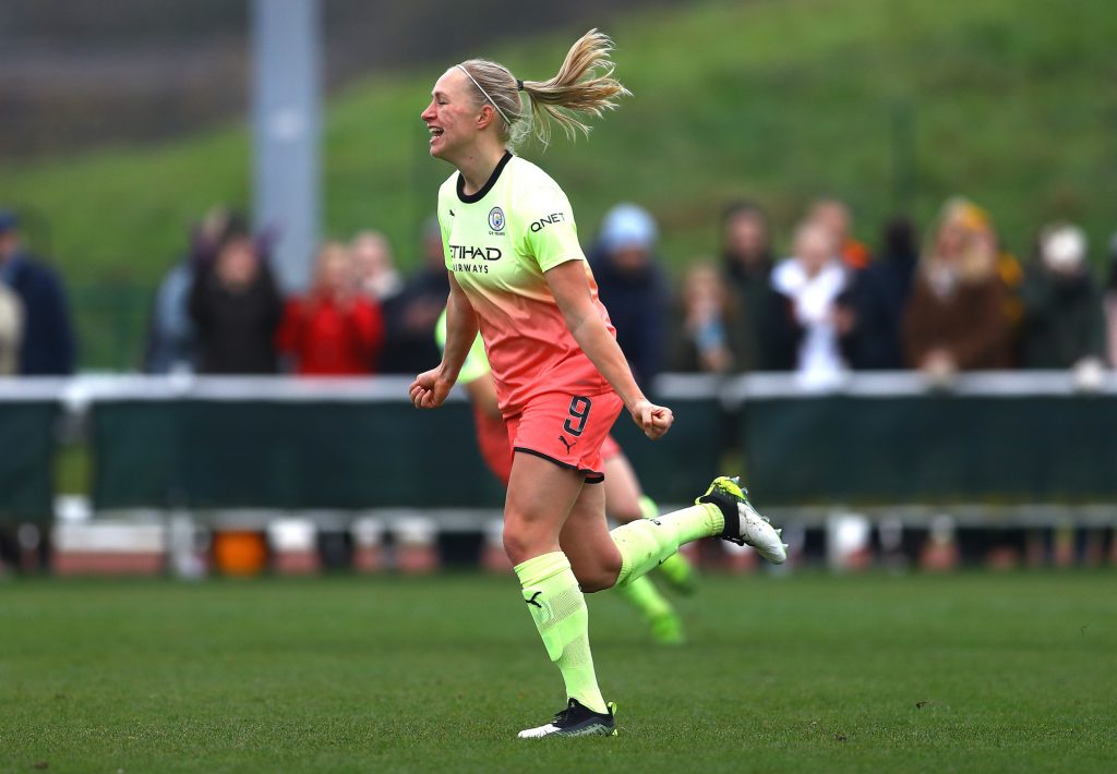 Former Manchester City forward nets first goal for She-Wolves at the third attempt